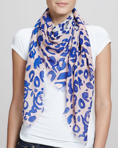 Animal-Print Square Scarf, Cobalt/Pink