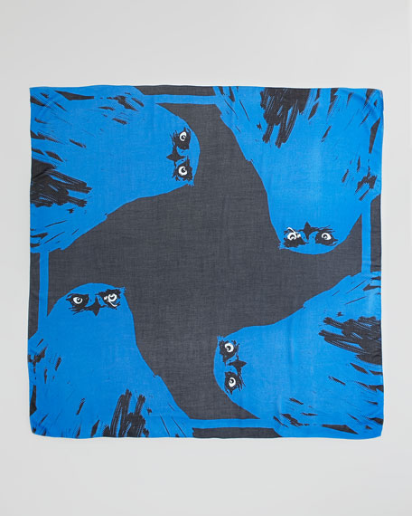Angry Eagle Square Scarf, Electric Blue