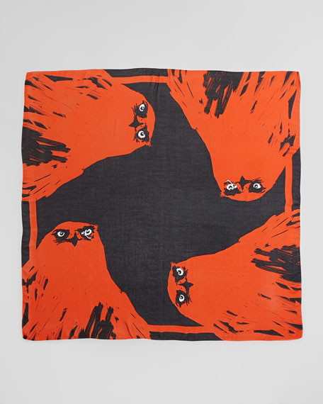 Angry Eagle Square Scarf, Electric Orange