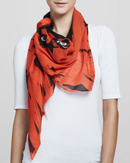 McQ Alexander McQueen Angry Eagle Square Scarf, Electric Orange