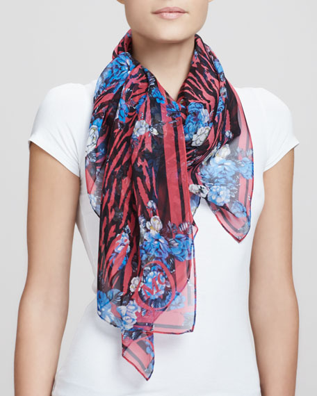 Tiger-Striped Floral Square Scarf, Pink