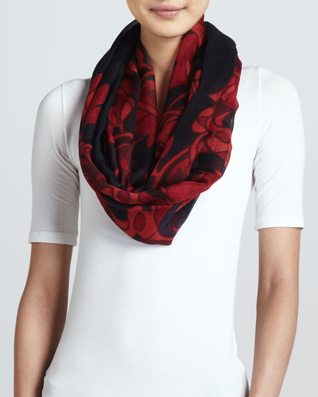Mirrored Calla Scarf, Black/Red