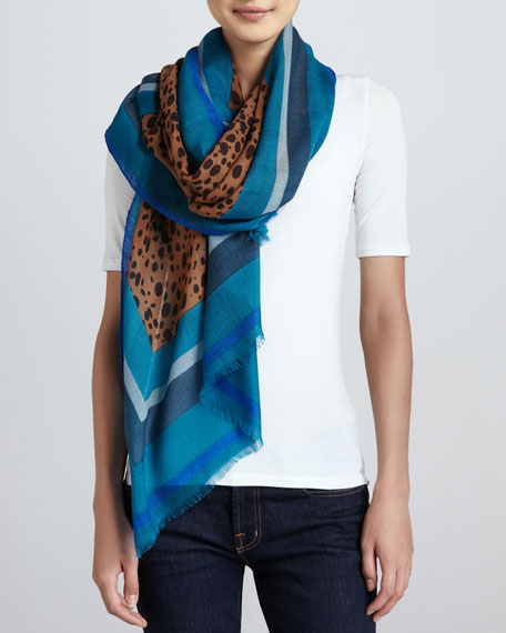 Multicolor-Border Cheetah Scarf, Electric Blue