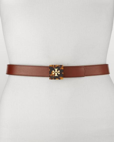 Reversible Logo Plaque Belt, Acorn Brown/Black
