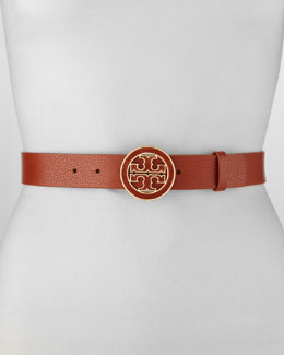 Tory Burch Amanda Logo-Buckle Leather Belt, Adobe
