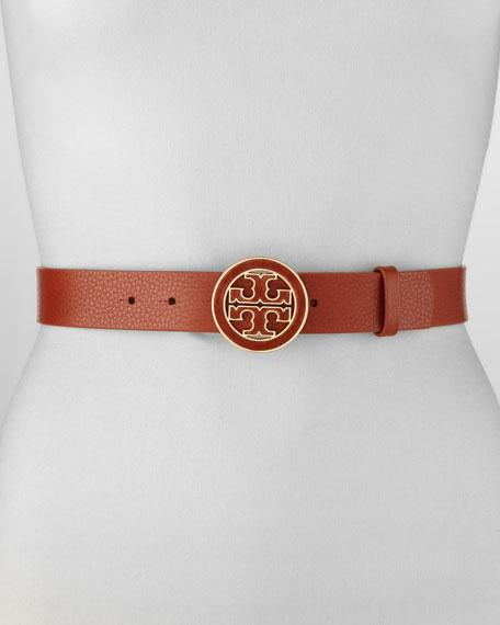 Amanda Logo-Buckle Leather Belt, Adobe
