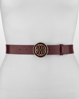 Tory Burch Amanda Logo-Buckle Leather Belt, Dark Plum