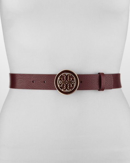 Amanda Logo-Buckle Leather Belt, Dark Plum