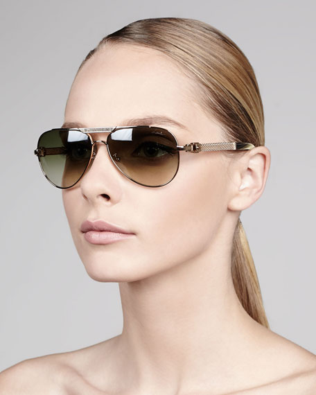 Leather-Detail Gradient Aviator Sunglasses