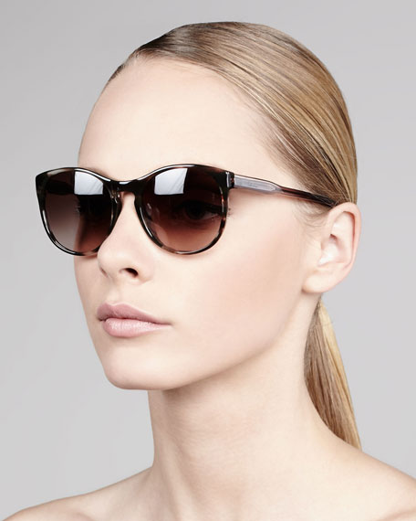 Round Tortoise Sunglasses, Brown/Clear