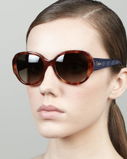 Dior Lady in Dior Quilted-Arm Sunglasses, Havana/Navy