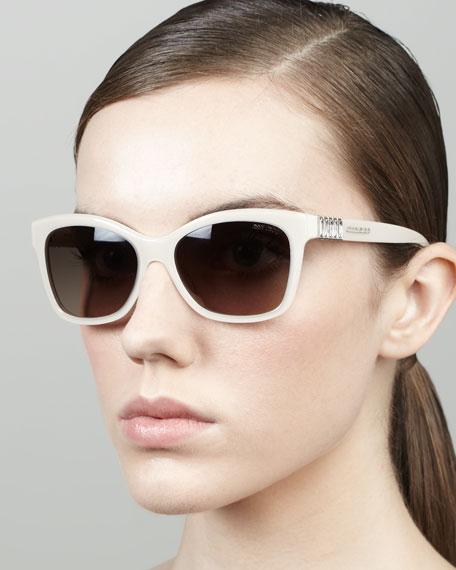 Mimi Crystal-Temple Square Sunglasses, Milk