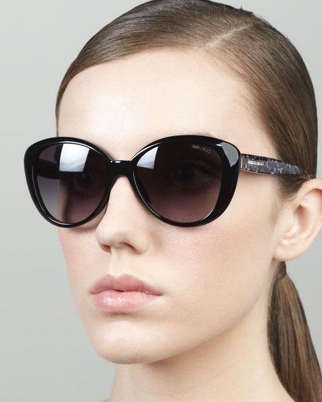 Tita Large Cat-Eye Sunglasses, Black
