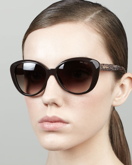 Tita Large Cat-Eye Sunglasses, Brown