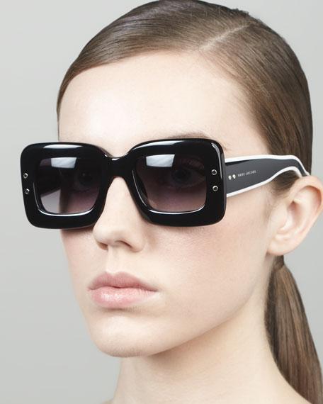 Large Square Sunglasses, Black