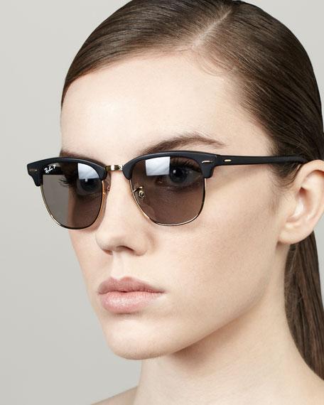 Polarized Matte Clubmaster Sunglasses, Black