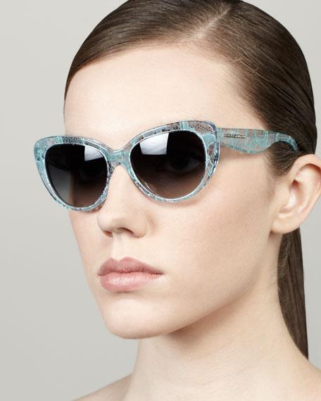 Lace-Print Cat-Eye Sunglasses