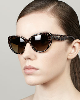 D&G Leopard-Print Polarized Sunglasses