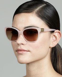 D&G Logo-Plaque Square Sunglasses, Opal Pink