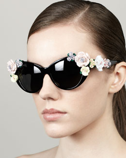 D&G Roses Cat-Eye Sunglasses, Black