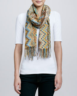 Missoni Filament Zigzag Knit Scarf, Brown/Orange/Gold