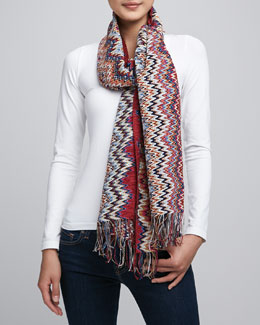 Missoni Zigzag Knit Scarf, Red/Black/Gold