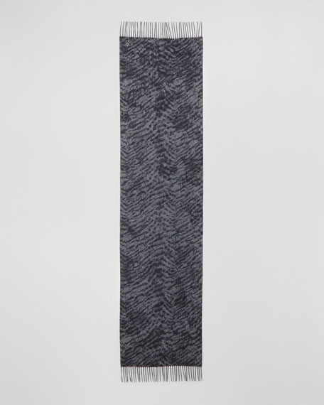 Lynx-Print Melange Cashmere Scarf, Gray