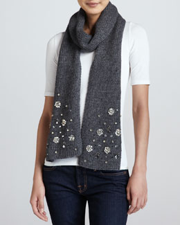 kate spade new york embellished knit scarf, heather gray