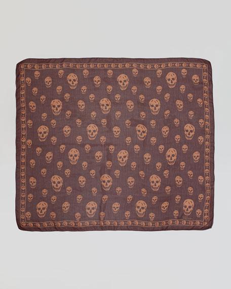 Skull-Print Chiffon Scarf, Brick Red/Beige