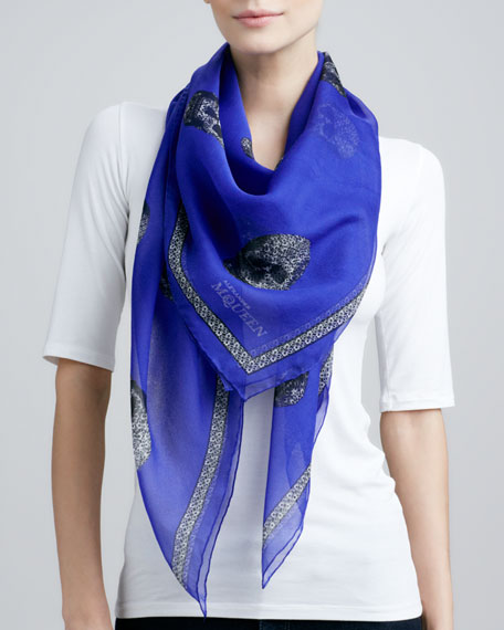 Graphic Lace-Skull Scarf, Blue/White