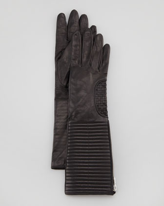 Zip-Gusset Long Leather Gloves, Black