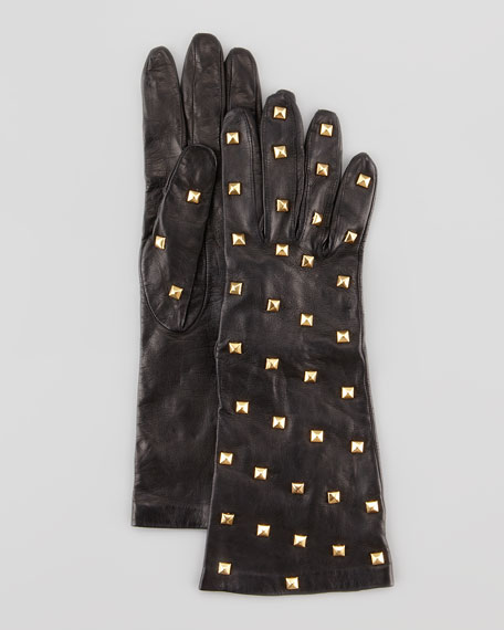Pyramid-Studded Long Leather Tech Gloves, Black
