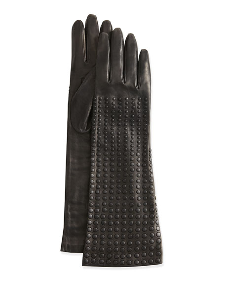 Long Studded Leather Gloves