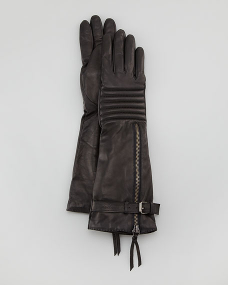 Quilted Long Leather Zip Smart Gloves, Black