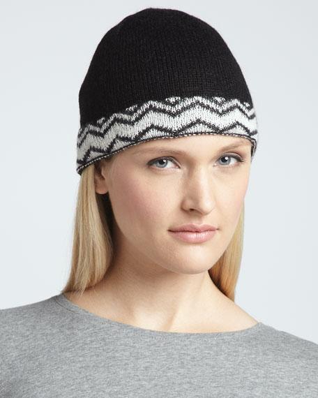 Zigzag-Band Knit Beanie, Black/White