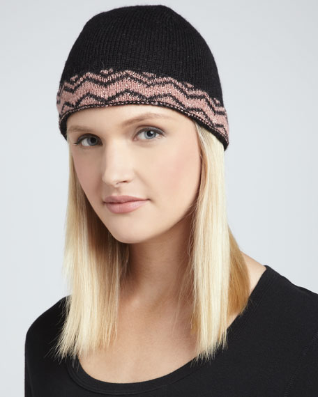 Zigzag-Band Knit Beanie, Pink/Black
