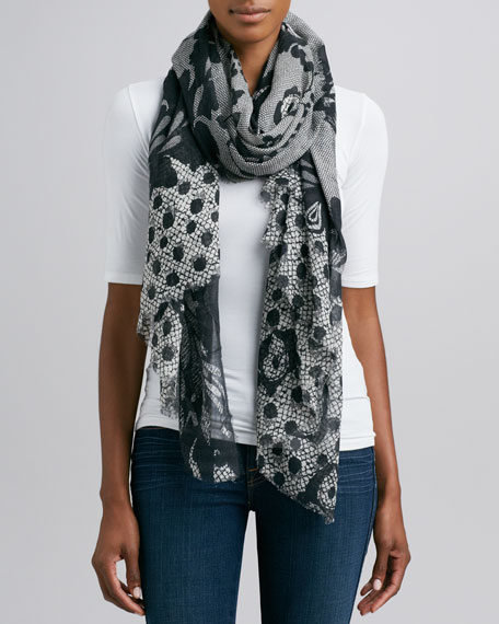 Hanover Lace-Print Scarf, Black/Cream