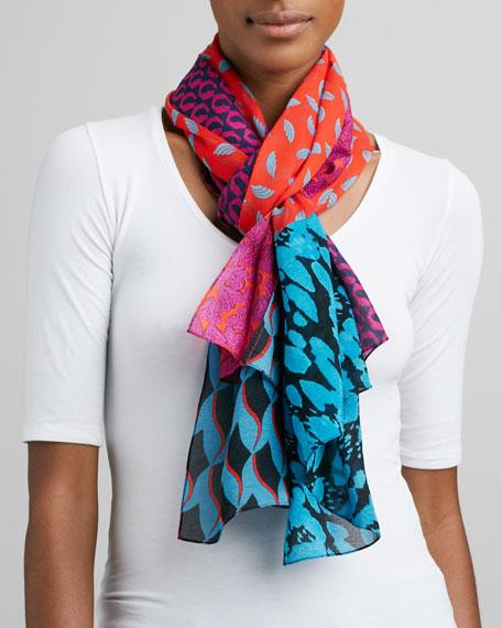 New Boomerang Multi-Print Scarf, Blue Leopard