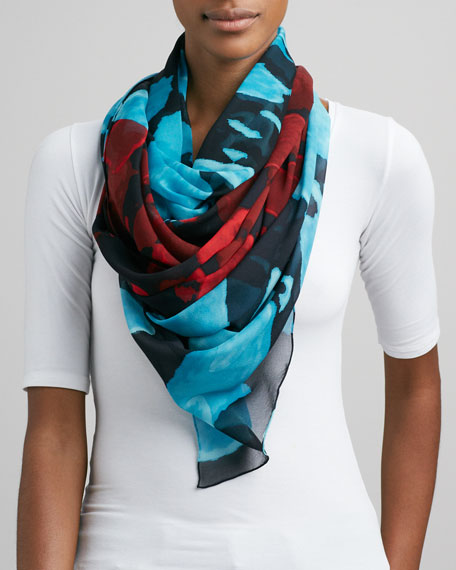 Lightweight Washed Chiffon Scarf, Blue/Red