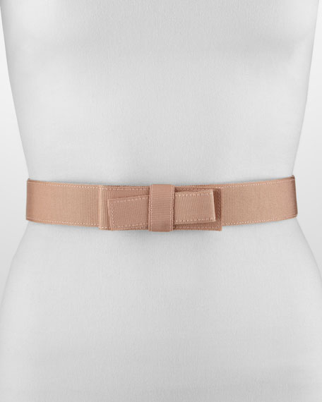 Grosgrain Bow-Front Belt, Nude
