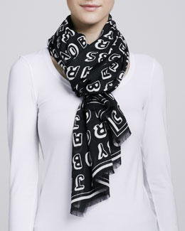 MARC by Marc Jacobs Dynamite Logo Scarf, White