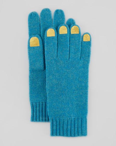 Nail-Polish-Illusion Knit Gloves, Black/Gray