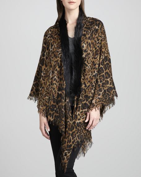 Fox Fur-Trim Leopard-Print Shawl