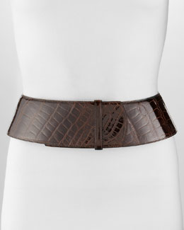 Oscar de la Renta Curved Wide Alligator Belt, Chocolate
