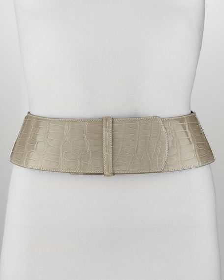 Oscar de la Renta Curved Wide Alligator Belt,