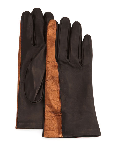 Metallic-Striped Leather Gloves