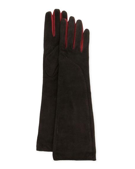 Suede-Contrast Long Gloves, Black