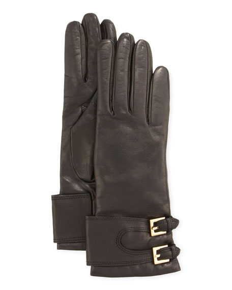 Two-Buckle Long Leather Gloves, Black