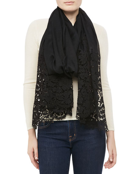 Cashmere Shawl with Lace Trim