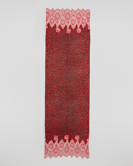 Lace-Trim Jaguar-Print Shawl, Red